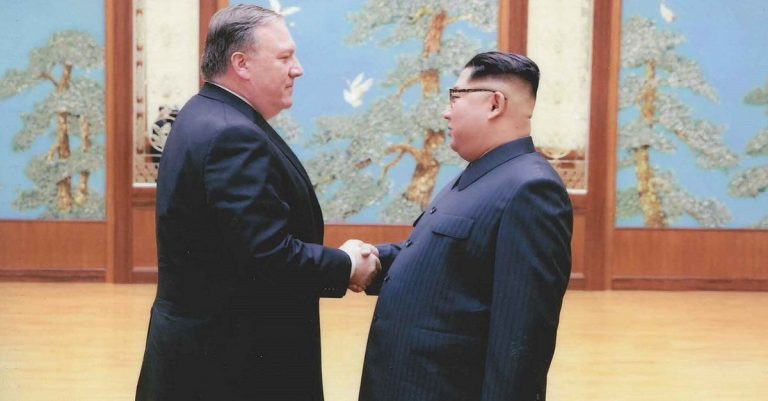 "<p>By White House (Twitter.com/WhiteHouse) [Public domain], <a href=""https://commons.wikimedia.org/wiki/File:Mike_Pompeo_and_Kim_Jong-un.jpg"">via Wikimedia Commons</a></p>"